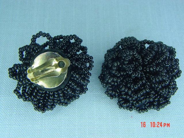 Black Glass Seed Bead Clip Earrings