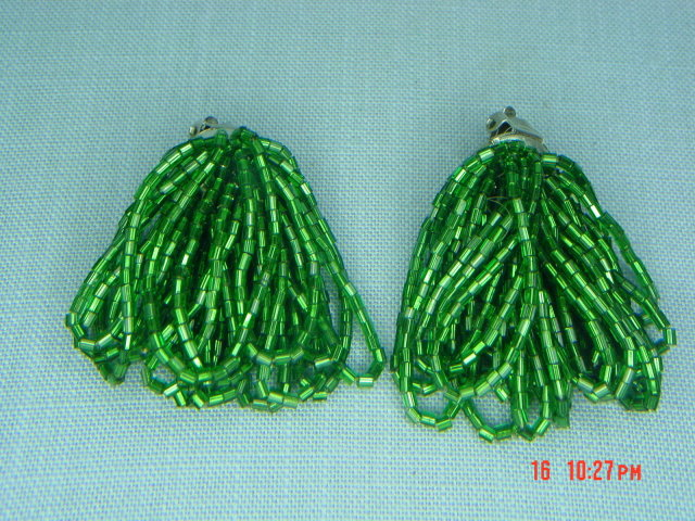 Green Tubular Glass Seed Bead Clip Earrings