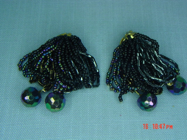 Black, Bronze & AB Glass Seed Bead Clip Earrings