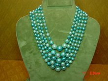Vintage 5 Strand Blue Bead Japan Necklace