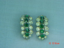 Kramer Green & Clear Rhinestone Clip Earrings