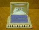Vintage Cream Colored Celluloid Four Leaf Clover Double Ring Presentation Box