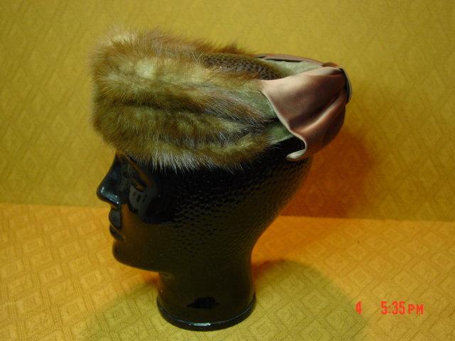 Vintage Mink Pillbox Hat