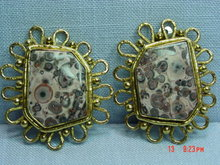 Vintage Spotted Pop Jasper Clip Earrings by IXEL