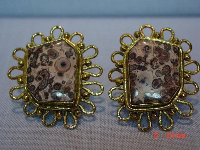 Vintage Spotted Pop Jasper Clip Earrings by IXEL