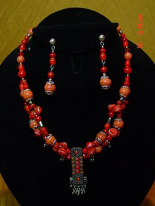 Czech Glass Necklace & Pierced Earrings by Cynthia Jean