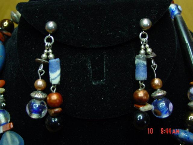 Blue Lapis Sterling Silver Necklace & Pierced Earrings by Cynthia Jean