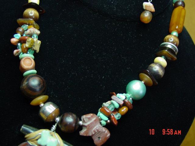 Jasper Turquoise Necklace & Pierced Earrings by Cynthia Jean