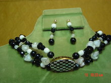 MOP Checkerboard Oval Choker Necklace & Pierced Earrings by Cynthia Jean