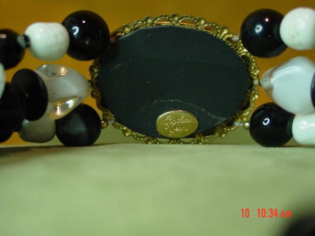 MOP Checkerboard Oval Choker Necklace & Pierced Earrings by Cynthia Jean