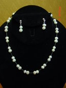 Modern Cultured Pearl Necklace & Pierced Earrings