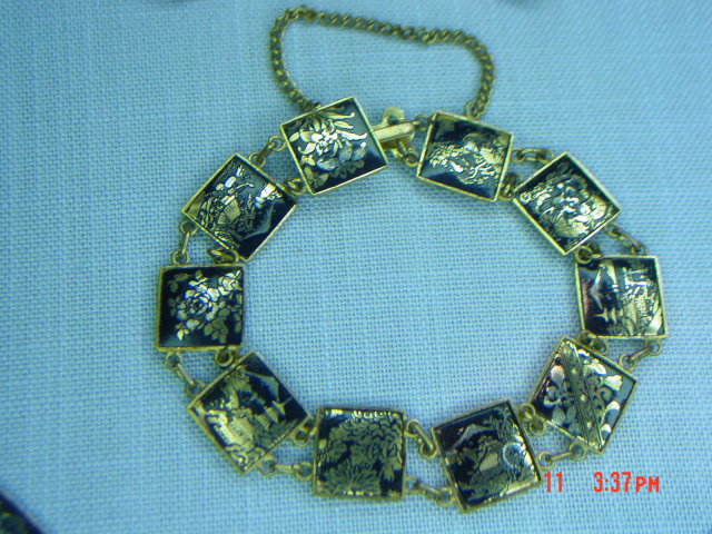 Vintage Japan Damascene 24K Necklace, Bracelet & Screwback Earrings