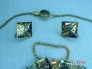 Vintage Japan Damascene 24K Necklace, Bracelet & Screwback Earrings