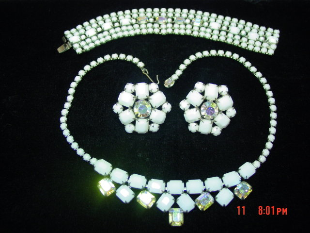 WEISS Milk Glass AB Rhinestone Necklace Bracelet Clip Earrings Parure