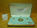 Van Dell 12K GF Tiger Eye Brooch & Screwback Earrings in Original Box