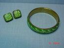 Brass Green Painted Tile Bangle Bracelet & Pierced Earrings