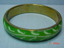Brass Green Painted Tile Bangle Bracelet & Pierced Earrings