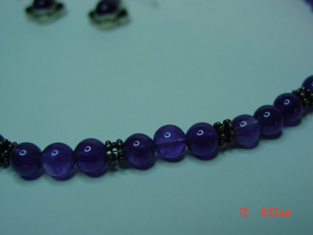 Sterling & Amethyst Bead Necklace & Pierced Earrings