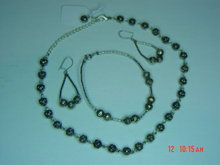 Silver Rose Bead Necklace, Bracelet & Pierced Earrings