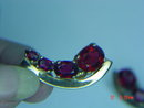 Gold Plated Ruby Red Rhinestone Castlemark Clip Earrings