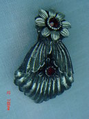 Celluloid Art Nouveau Black Flower Dress Clip