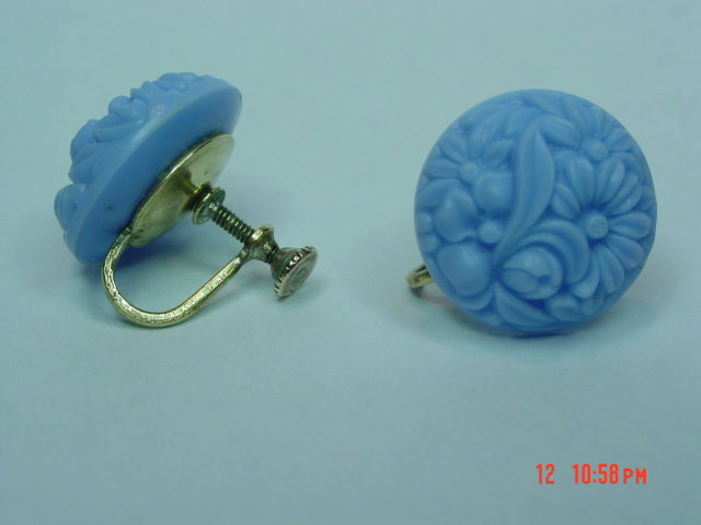 Baby Blue Celluloid Flower Screwback Earrings