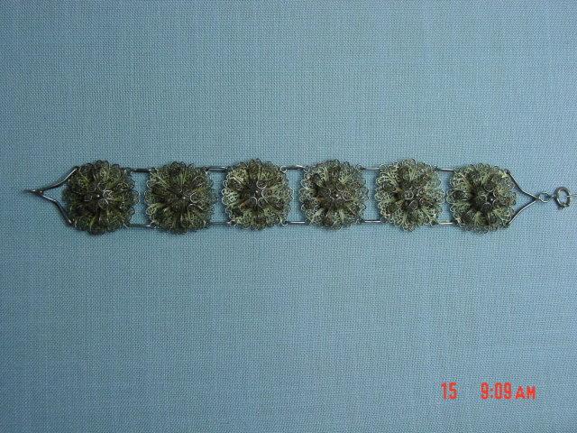 Antique 800 Silver Filigree Flower Bracelet