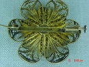 800 Silver Gold Wash Vermeil Filigree Flower Brooch