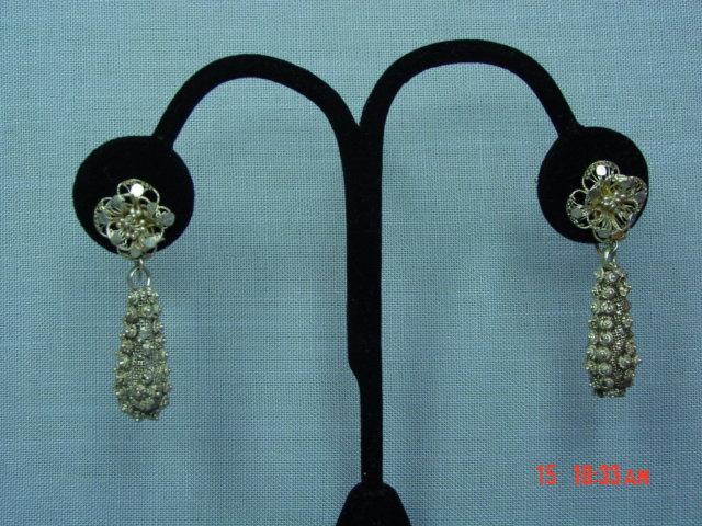 Antique Sterling Silver Filigree Flower Screwback Earrings