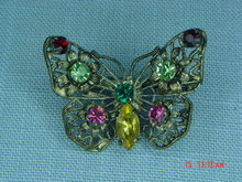 Antique Czechoslovakia Rhinestone Butterfly Brooch