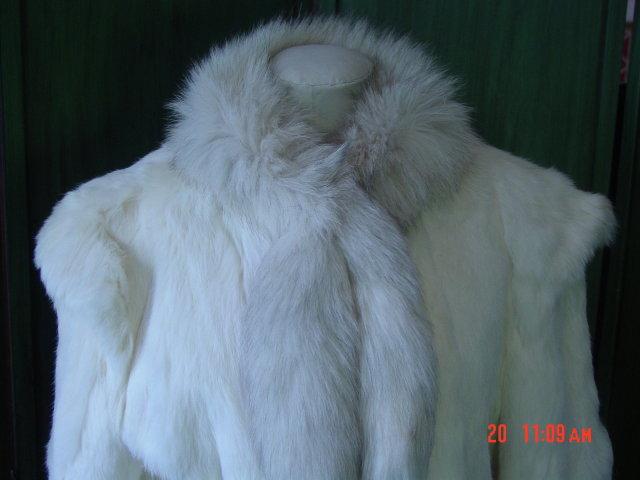 Vintage Sergio Valente White Rabbit Fur Fox Collar Jacket Size L