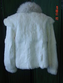 Vintage Sergio Valente White Rabbit Fur Fox Collar Jacket Size L