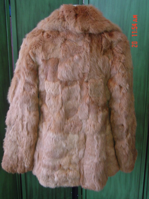 Korea Red Dyed Rabbit Fur Jacket Size M