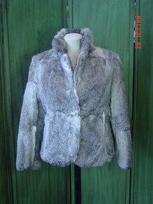 Imperial Hong Kong Mottled Gray Rabbit Fur Jacket Size Medium