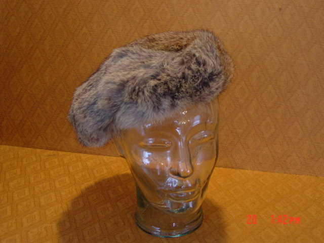 Vintage Mottled Brown Rabbit Fur Beret Hat