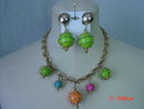 Vintage Colorful Wire Wrapped Bead Necklace & Clip Earrings
