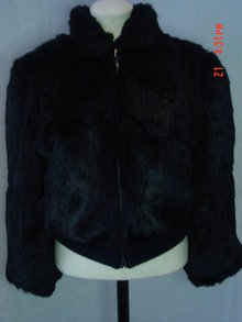Vintage Hong Kong Black Rabbit Fur Jacket Size Large
