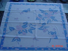 Vintage Blue Pink & Cream Floral 44x48 Linen Tablecloth