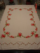 Pink Linen Tablecloth with Roses