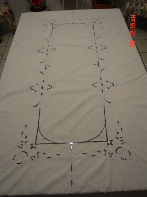 76x57 Damask Linen Tablecloth