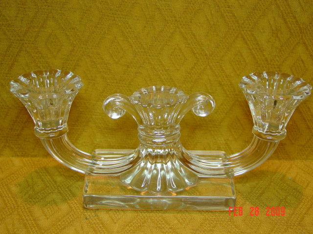 Pressed Glass Double Candleholder