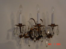 Italian Gilt Toleware Florentine Electric Wall Sconce with Prisms