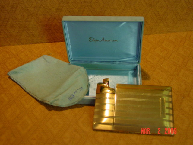 Goldtone Elgin American Magic Action Lite-O-Matic Cigarette Case with Lighter