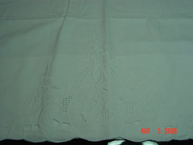 Pair of White Cutout Embroidered Cotton Pillowcases