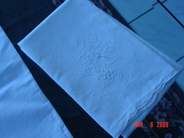 Pair of White Embroidered Pillow Cases