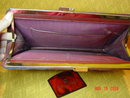 Vintage Burgundy Leather Clutch Handbag by Etienne Aigner