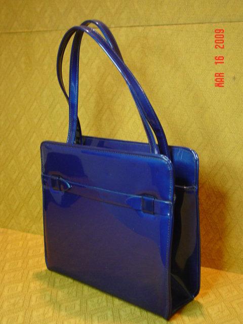 Vintage Navy Blue Vinyl Handbag by Garay