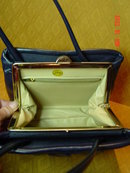 Vintage Navy Blue Vinyl Handbag by Garay