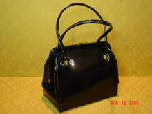 Vintage Shiny Black Vinyl Handbag by Markay