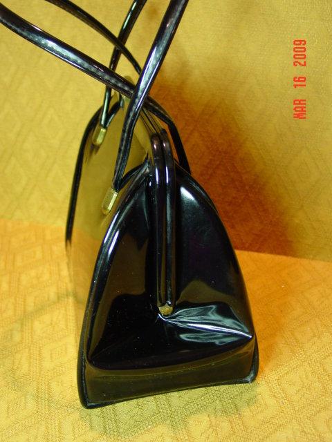 Vintage Shiny Black Vinyl Handbag by Markay